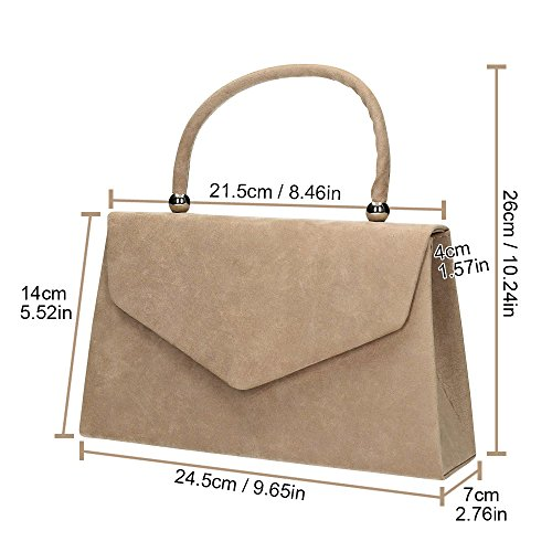 Suede Khaki Womens Clutch Handbag Bag Ladies party 1 Prom Shoulder Wocharm Clutch velvet Evening Folds Bag Bridal qaXHXwx