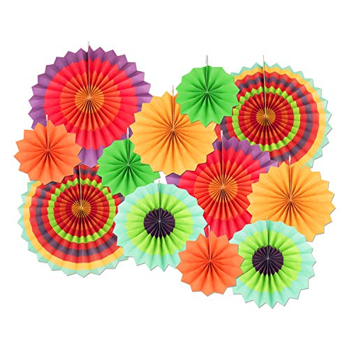 12 PCS Paper Fans Decoration, Vibrant Colorful Hanging Fans for Wedding Birthday Party Baby Showers,Cinco De Mayo Carnival Mexican Kids Party
