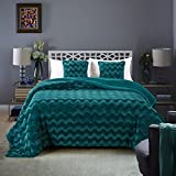 Chanasya Super Soft Warm Elegant Cozy Fuzzy Fur Fluffy Faux Fur with Sherpa Wave Shape Embossed Plush Evergreen Teal Microfiber Bed Blanket Queen / Full - Solid Wave Pattern Evergreen Teal