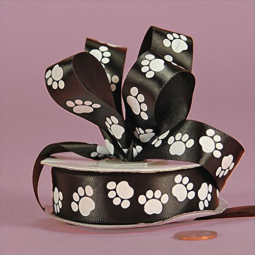 White Paw Prints On Black Satin Ribbon - 5/8in. Width - 25 Yards -