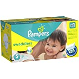 Pampers Swaddlers Diapers Size 5 Economy Pack Plus 124 Count (Packaging May Vary)