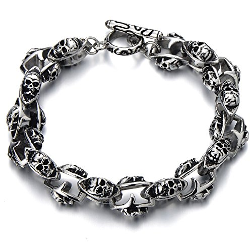 NEW Gothic Biker Skull Link Bracelet for Men Stainless Steel Polished Silver Black - Mens Steel Bracelet Stainless New
