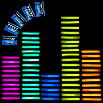 "100 Lumistick 2"" Glow Sticks - Assorted 5 Color Mix"