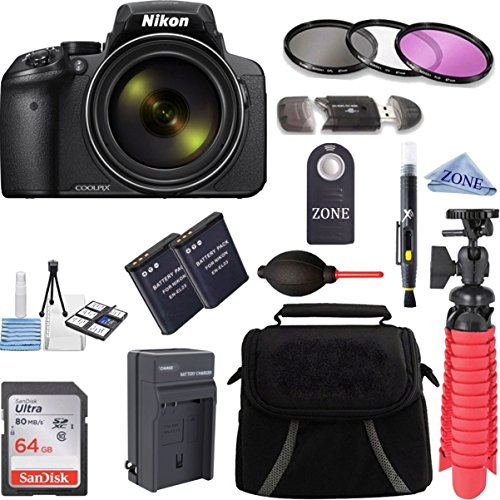Nikon COOLPIX P900 16MP 83x Super Zoom 4k Wi-Fi GPS Digital Camera + 64GB Memory & Accessory Bundle Kit