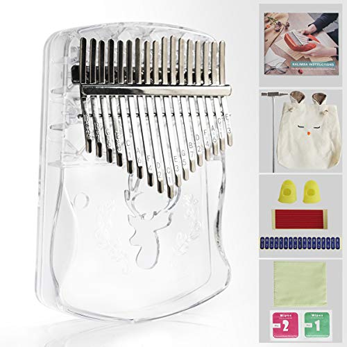 Kalimba Thumb Piano,17 keys Crystal Thumb Piano,Transparent Acrylic Material (Transparent- Deer)