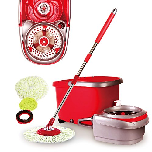 Woodsam Magic Spin Mop - 2017 UPGRADED VERSION - Easy Press Mop Bucket Set - Stainless Steel Wringer and Cushion Handle - 360° Rotation - Liquid Drain Plug (Cyclo System)