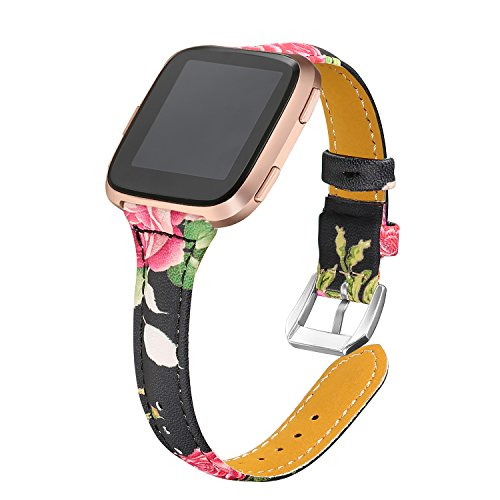 bayite Bands Compatible Fitbit Versa, Slim Genuine Leather Band Replacement Accessories Strap Versa Women Flower Pattern 1