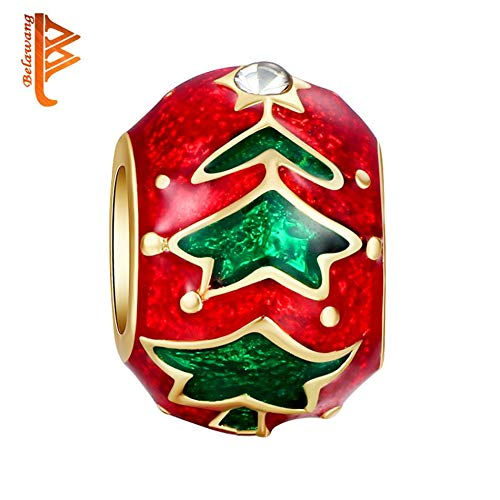 Calvas Silver Color European Silver Christmas Tree Colorful Charms Fit Women Bracelet Christmas Day Jewelry Gift