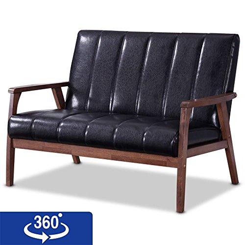 Baxton Furniture Studios Nikko Mid century Modern Scandinavian Style Faux Leather Wooden 2 Seater Loveseat, Black