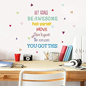 IARTTOP Colorful Inspirational Quote Wall Decal, Motivational Saying You Got Be Awesome This Sticker for Classroom Study Room Bedroom Decor