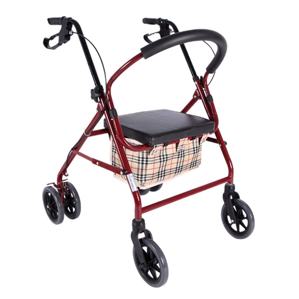 Medical Rolling Walkers Shopping Trolley Old Man Trolley Car Multi-Function Scooter Can Take A Folding Wheelchair Folding Four Wheeler Rehabilitation Exercise PNYGJZXQ by PNYGJZXQ