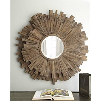"Zinc Decor Driftwood Layered Sunburst Wall Mirror Large 43"" Beach Coastal"