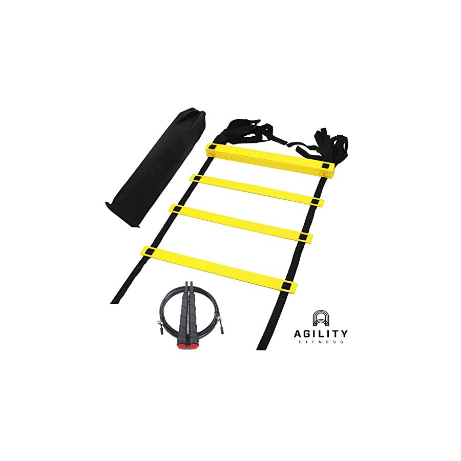 Speed Agility Ladder Bundle with Skipping Jump Rope and Carry Bag for Training Football Fitness Soccer Boxing
