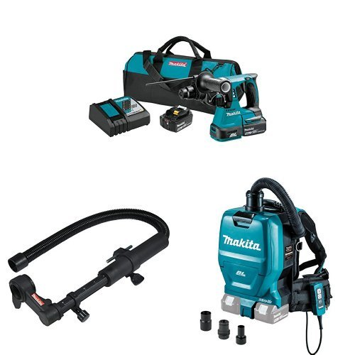 """Makita XRH01T 18V LXT Lithium-Ion Brushless Cordless 1"""" Rotary Hammer Kit (5.0Ah), with Makita 193472-7 Dust Extraction Attachment  with Makita XCV05ZX 8V X2 LXT Lithium-Ion 36C Brushless Cordless 1/2 gallon HEPA Filter Backpack Dry Vacuum with Tool Adapters"""