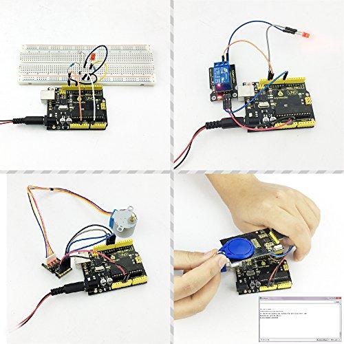 KEYESTUDIO Starter Kit a Arduino UNO con Guías Tutorial y Conjunto de UNO R3, a Demás de Relé de 5V, Sensor Ultrasónico, Pantalla LCD1602, Servomotor, ...