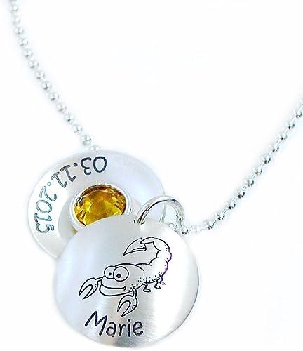 Inkl Kinderkette Sternzeichen persönliche Gravur-Silber 925 Taufkette Kette