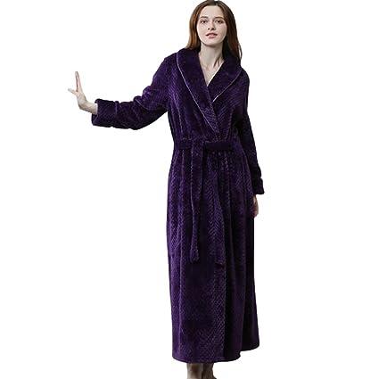 pannnow de las mujeres y los hombres de forro polar de franela albornoz lujo Robe pijamas