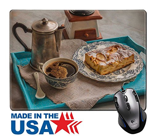 """MSD Natural Rubber Mouse Pad/Mat with Stitched Edges 9.8"""" x 7.9"""" Vintage cup of hot coffee and cheesecake in a blue tray on a gray table IMAGE 25640345"""