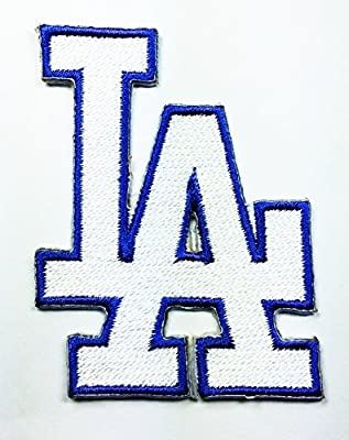 White Los Angeles Dodgers Patch Embroidered Iron on Hat Jacket Hoodie Backpack Ideal for Gift/ 4.8cm(w) X 6.4cm(h)
