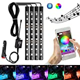 AMBOTHER 4X Car LED RGB Music Interior Atmosphere Floor Underdash Lighting RGB Music Control Strip Lights Kit Multicolor APP Blue ++++ Tooth Controller for iPhone Android