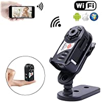 Mini WiFi Camera 480P for Iphone Android, P2P Smart Video Camcorder, Hidden Security Camera with Infrared Night Vision for Car Recorder Home Surveillance