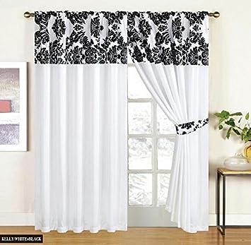 White Black Curtains Royal Damask Curtains Pencil Pleat Faux Silk ...