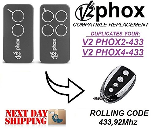 V2 PHOX2, V2 PHOX4 compatible CLONE remote control replacement transmitter, 433,92Mhz rolling code clone!!!