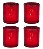 Biedermann & Sons Rustic Glass Pillar Candle Holders (Box of 4), Red Review