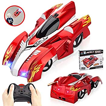 INLAIER Remote Control Car Gravity Defying RC Car Race Car Toys for Floor and Wall or Glass, Rechargeable Fast RC Car 360°Rotating Stunt Wall Climbing Car RC Cars for Kids and Adults (Silver Red)