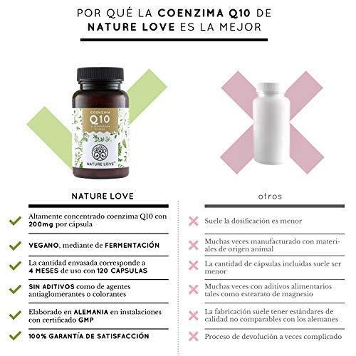 Nature Love - Coenzima Q10 con 200mg por cápsula. 120 cápsulas duran 4 meses. Calidad premium: de origen vegetal, mediante un proceso de fermentación.