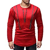 Clearance Deals Mens Fashion Polka Dot Long Sleeve Zipper Sweatshirt - vermers 2018 New Men Casual Pullover T Shirt Top(2XL, Red)