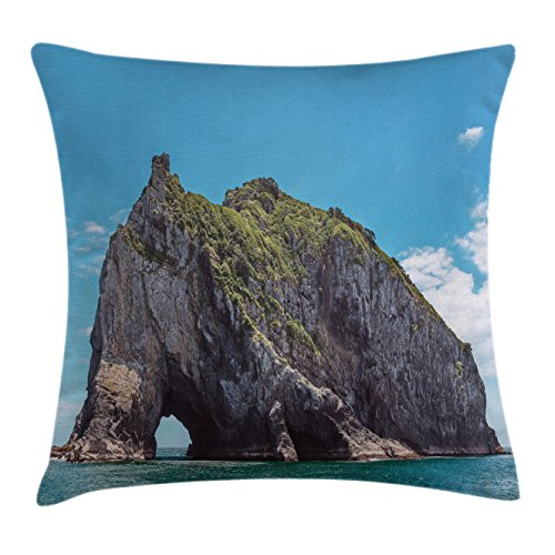 Beach Throw Pillow Cushion Cover by Ambesonne, Famous Elephant Shape Rock with the Grand Hole in Bay of Islands Nz Cavern Peaceful, Decorative Square Accent Pillow Case, 26 X 26 Inches, Blue Grey (Contemporary Outdoor Nz Furniture)