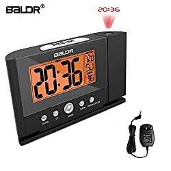 BALDRUS Projection Alarm Clocks, Time Projector on Wall Ceiling [Upgraded Version] LCD Screen Snooze Indoor Temperature Night Light Backlight for Bedrooms (US Adaptor or Battery Operated)