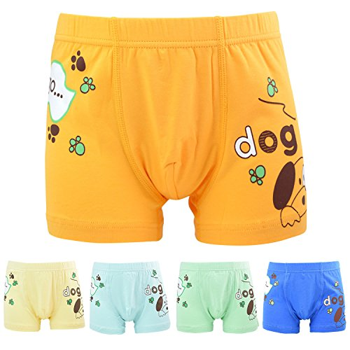 FydRise Big Boys' Dog Boxer Briefs Cotton Underwear Assorted 5 Shorts Packs Blue and Green