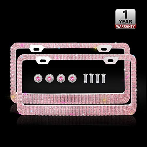 Indeedbuy Luxury Handmade Glitter Rhinestone Crystal Premium Pink Stainless Steel Licence Plate with Anti-Theft Screw Caps for Front and Back License