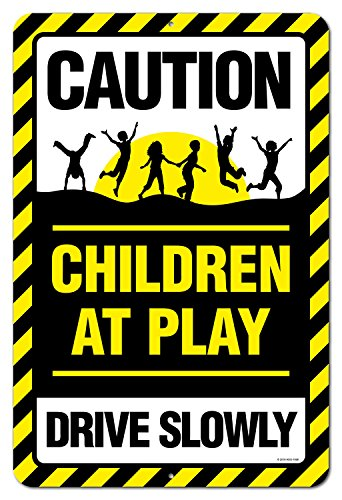 Honey Dew Gifts Caution Children at Play Warning Drive Slowly Neighborhood Watch 12 x 18 inch Metal Aluminum Sign, Kids Playing Street Sign, Driveway Safety Sign Caution Children Playing Signs
