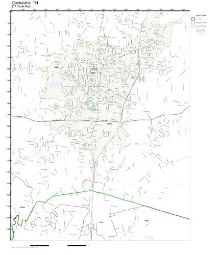 Amazon.com: ZIP Code Wall Map of Cookeville, TN ZIP Code Map Not