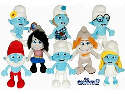 amazon com official the smurfs 2 complete 8 piece plush set doll