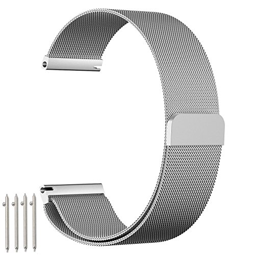 amBand Fully Magnetic Closure Clasp Mesh Loop Milanese Stainless Steel Metal Replacement Band Bracelet Strap for Men's Women's Watch ,Silver 20mm (20 Mm Watch Band Nato)