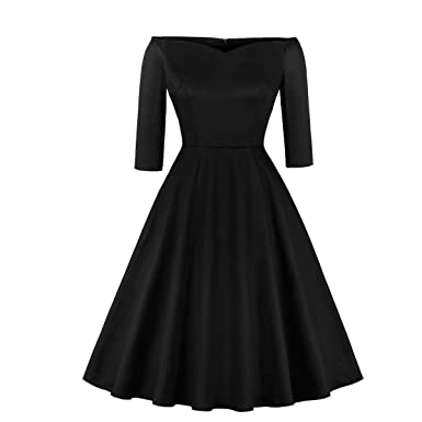 adb38bf565d Cocktail Party Dresses - 2019 Women s 50s Retro Off Shoulder Stretchy  V-Neck Cocktail Party