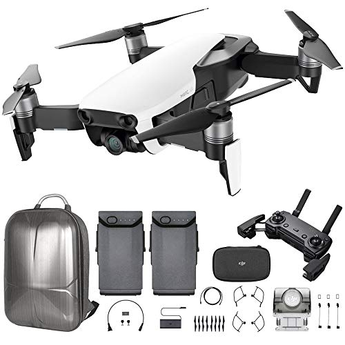 DJI Mavic Air Quadcopter with Remote Controller – Arctic White Max Flight Bundle with Spare Battery, and Custom Mavic Air Hard Shell Back Pack