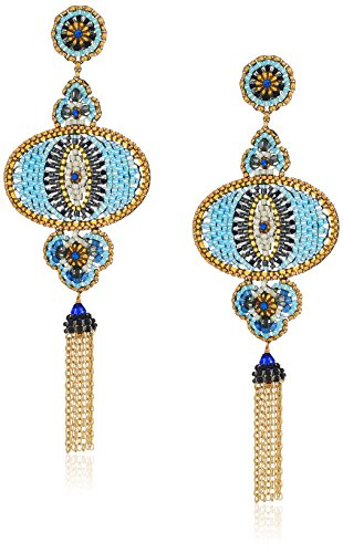 Miguel Ases Eye Swarovski Beaded Multi-Dangle Drop Earrings - Miguel Ases Beaded Earrings