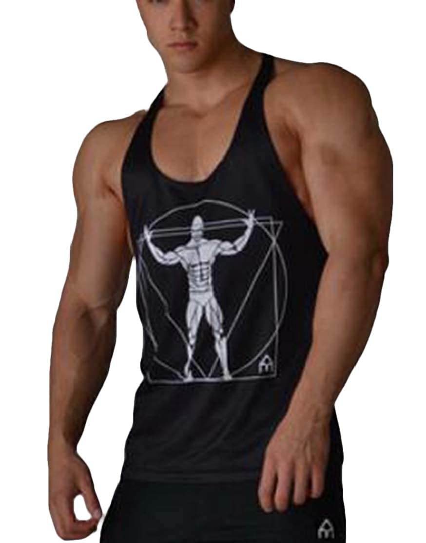 Frieed Men Breathable Sleeveless Dry Fit Exercise Tank Top Cami Blouse Shirt