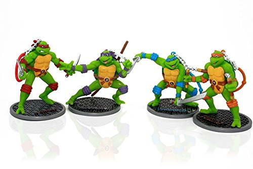 Teenage Mutant Ninja Turtles Action Figures, 3-Inch (Set of 4) with 8 Nick TMNT Party Masks (Ninja Turtle Party Mask)