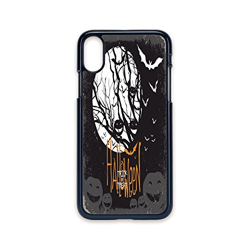 Phone Case Compatible with iPhone X 2D Print Black Edge,Vintage Halloween,Halloween Themed Image with Full Moon and Jack o Lanterns on a Tree Decorative,Black White,Hard Plastic Phone Case ()