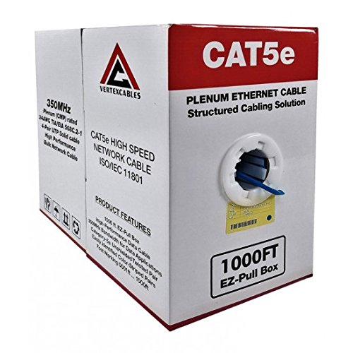 CAT5E PLENUM 1000FT 350MHZ 24AWG BLUE SOLID NETWORK CABLE CMP (Cable Plenum Ethernet Cat5e 1000')