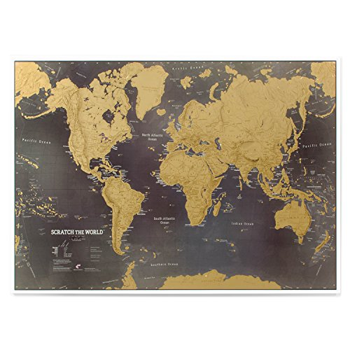 Scratch the World® - black world map poster scratch off places you travel - cartographic detail - 33.11 (w) x 23.39 (h) inches (Find Wall Place Best To Art)
