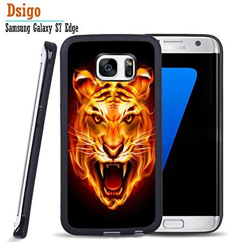 Price comparison product image Galaxy S7 Edge Case,  Samsung S7 Edge Black Case,  Dsigo TPU Black Full Cover Protective Case for New Samsung Galaxy S7 Edge - Burning tiger