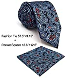 SHLAX&WING Mens Necktie Blue Multicolor Paisley Tie Set for Suit Jacket