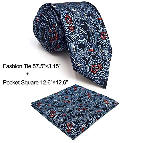 SHLAX&WING Mens Necktie Blue Multicolor Paisley Tie Set for Suit Jacket by S&W SHLAX&WING